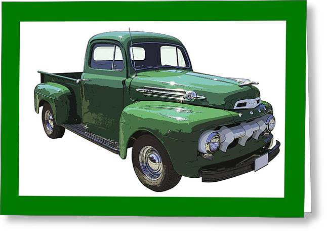 Antique Truck Greeting Cards - Green 1951 Ford F-1 Pick Up Truck Illustration  Greeting Card by Keith Webber Jr
