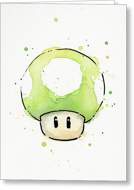 Game Mixed Media Greeting Cards - Green 1UP Mushroom Greeting Card by Olga Shvartsur