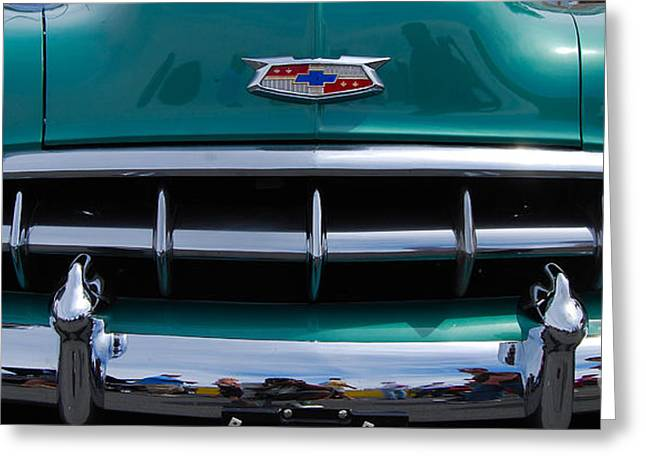 Green '54 Chevy Grill Greeting Card by Mark Spearman