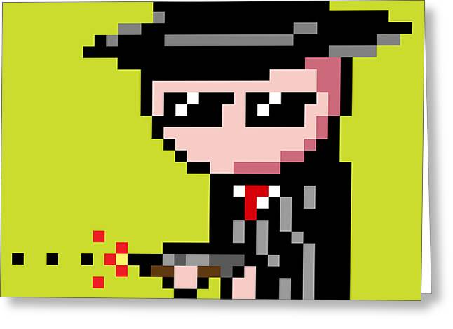 8 Bit Greeting Cards - Green 8 Bit Gangsta Greeting Card by Ivan Porrini