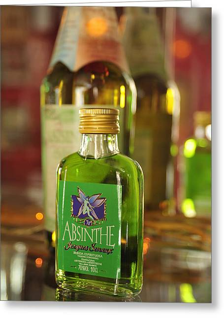 Absinthe Greeting Cards - Green Absinthe in small bottle Greeting Card by Matthias Hauser