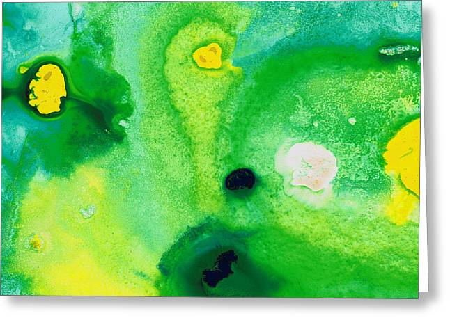 Huge Abstract Art Greeting Cards - Green Abstract Art - Life Pools - By Sharon Cummings Greeting Card by Sharon Cummings