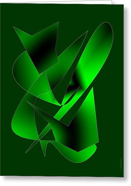 Transparency Geometric Greeting Cards - Green Abstract Art Greeting Card by Mario  Perez