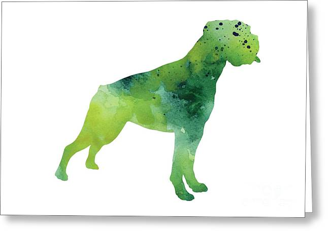 Boxer Abstract Art Greeting Cards - Green abstract boxer for sale Greeting Card by Joanna Szmerdt