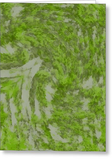 Moss Green Paintings Greeting Cards - Green Abstract Four Greeting Card by Dan Sproul