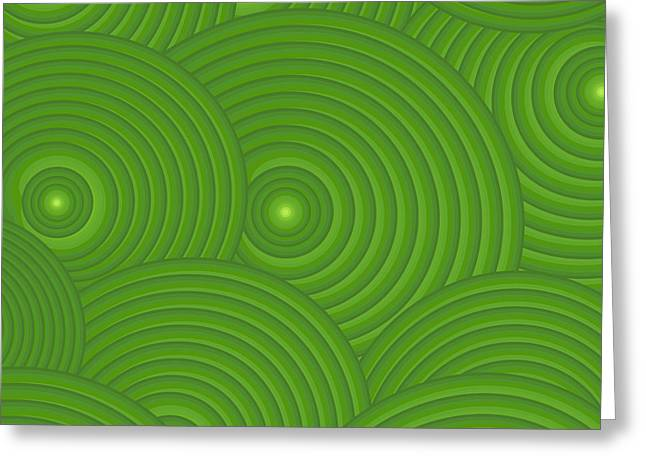 Swirly Greeting Cards - Green Abstract Greeting Card by Frank Tschakert