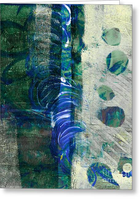 Printmaking Greeting Cards - Green Abstract Greeting Card by Laura L Leatherwood