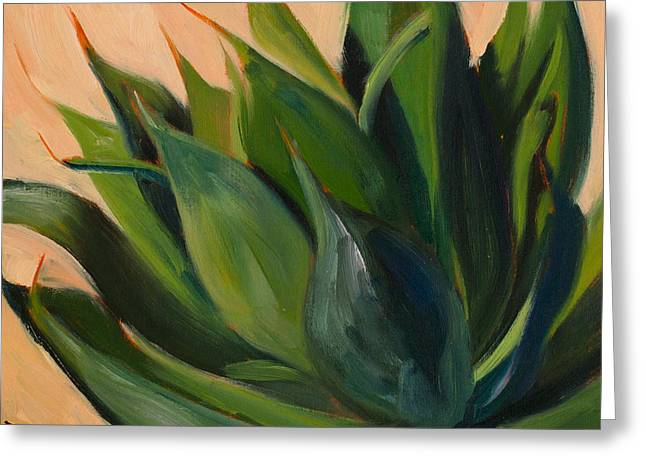Athena Greeting Cards - Green Agave Left Greeting Card by Athena Mantle