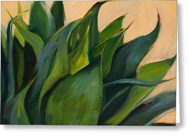 Athena Greeting Cards - Green Agave Right Greeting Card by Athena Mantle