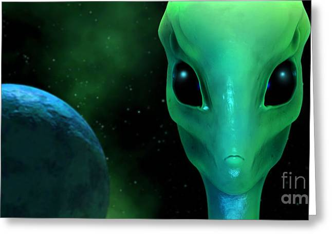 Xfiles Greeting Cards - Green Alien sci-fi Greeting Card by Ralwel Studio