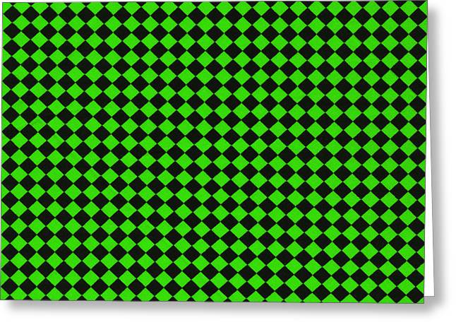 Mesh Greeting Cards - Green and Black Checkered Pattern Cloth Background Greeting Card by Keith Webber Jr