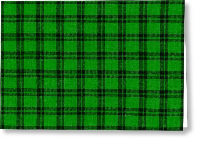 Checked Tablecloths Photographs Greeting Cards - Green and Black  Plaid Cloth Background Greeting Card by Keith Webber Jr