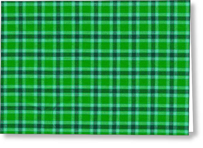 Gingham Greeting Cards - Green And Black Plaid Pattern Fabric Background Greeting Card by Keith Webber Jr