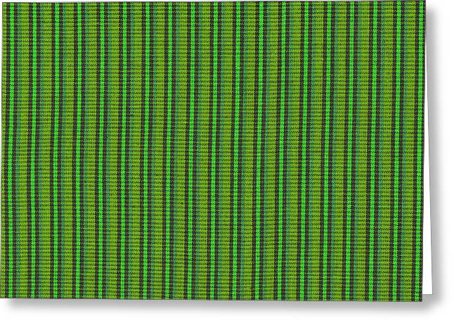 Cloth Greeting Cards - Green And Black Striped Fabric Background Greeting Card by Keith Webber Jr