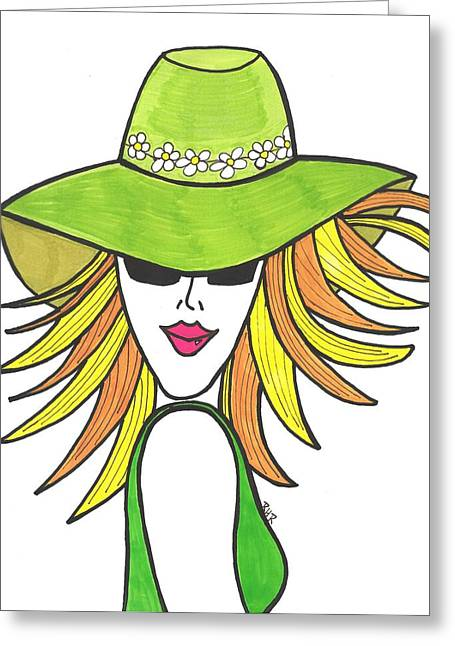 Blonde Girl Paintings Greeting Cards - Green and Blonde Greeting Card by Ray Ratzlaff