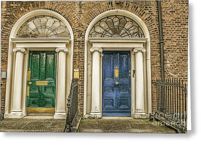 Traditional Doors Greeting Cards - Green and blue doors in Dublin Greeting Card by Patricia Hofmeester