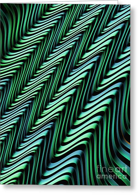 Fold Greeting Cards - Green and Blue Folds Greeting Card by John Edwards