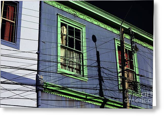 Blue And Green Photographs Greeting Cards - Green and Blue in Valparaiso Greeting Card by John Rizzuto