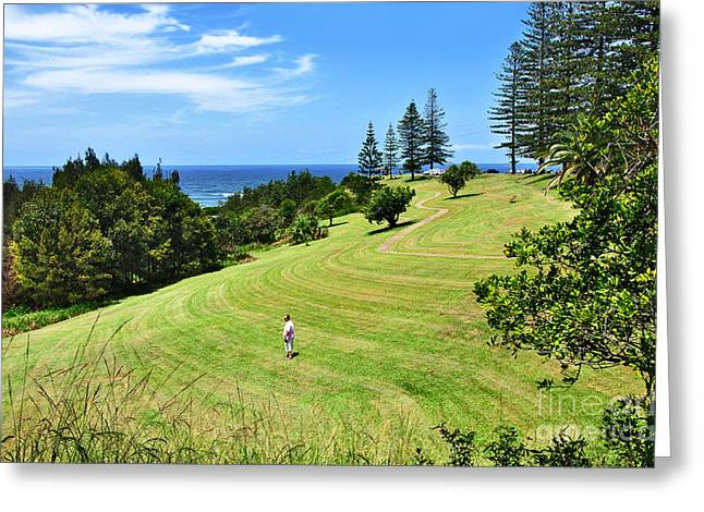 Macquarie Greeting Cards - Green and Blue Ocean View Greeting Card by Kaye Menner