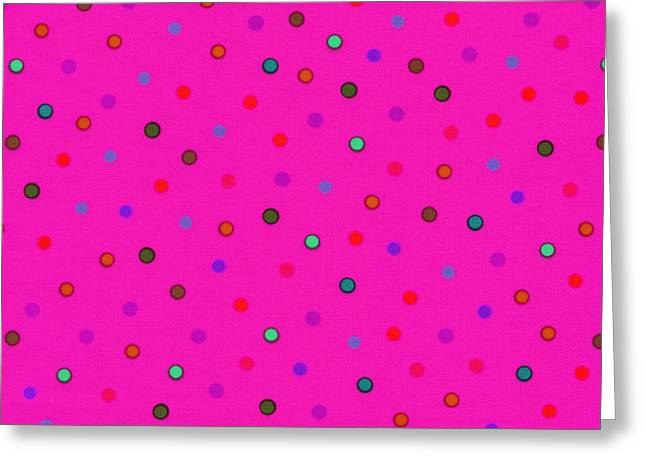 Chic Greeting Cards - Green And Blue Polka Dots On Pink Fabric Background Greeting Card by Keith Webber Jr