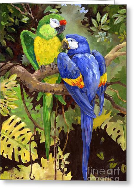 Tropical Birds Greeting Cards - Green and Blue Tropical Macaw Greeting Card by Paul Brent