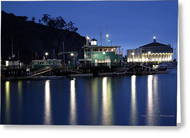Casino Pier Greeting Cards - Green and Casino at night Greeting Card by Juan Rodriguez