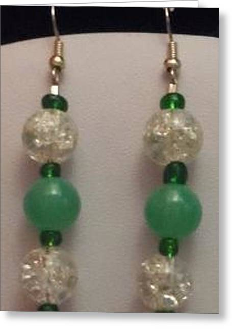 Seed Beads Greeting Cards - Green and Cracked Crystal Dangle Earrings Greeting Card by Kimberly Johnson