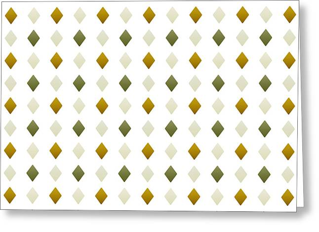 Geometric Shape Mixed Media Greeting Cards - Green and Gold Diamond Pattern Greeting Card by Christina Rollo
