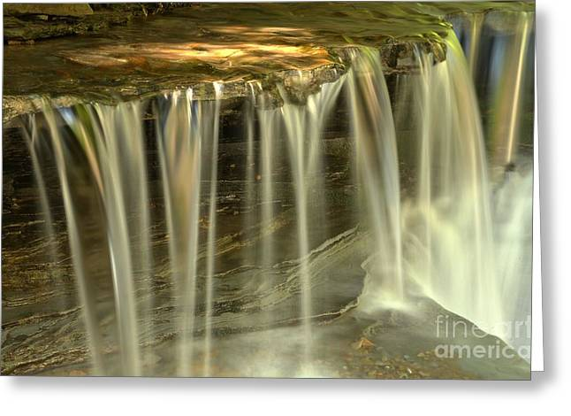 Ledge Photographs Greeting Cards - Green And Golden Streams At Stony Brook Greeting Card by Adam Jewell