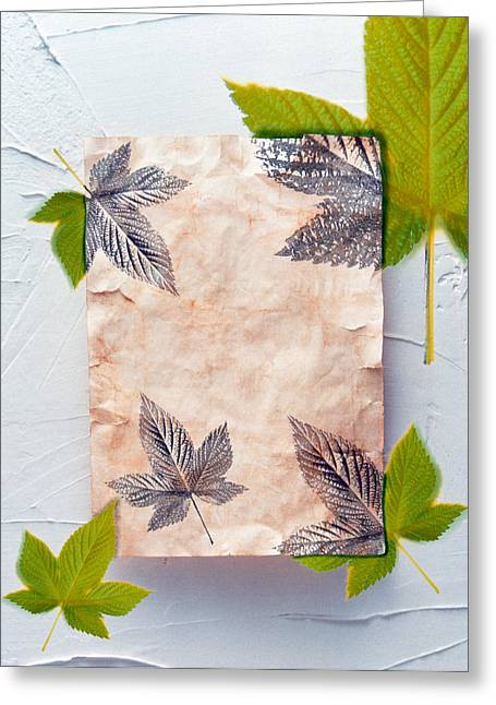 Green Leafs Greeting Cards - Green And Grey Leaves Superimposed Greeting Card by Panoramic Images