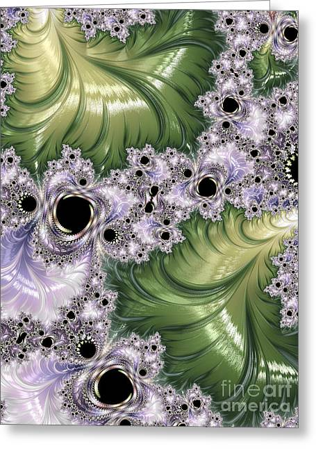 Burst Greeting Cards - Green And Lavender Fractal Abstract  Greeting Card by Heidi Smith