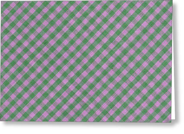Gingham Greeting Cards - Green And Pink Checkered diagonal Tablecloth Cloth Background Greeting Card by Keith Webber Jr