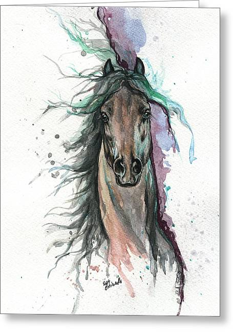 Wild Horses Greeting Cards - Green And Purple  Greeting Card by Angel  Tarantella