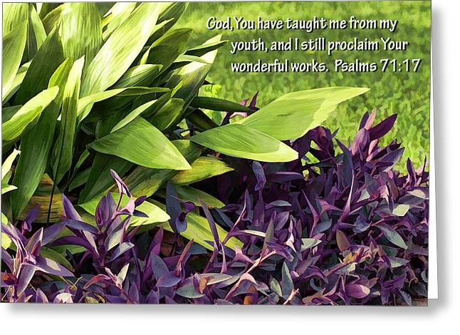 I Am Not Greeting Cards - Green and Purple Foliage Ps. 71v17 Greeting Card by Linda Phelps