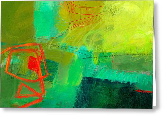 Color Green Greeting Cards - Green and Red #1 Greeting Card by Jane Davies