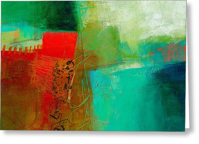 Abstract Collage Greeting Cards - Green and Red 4 Greeting Card by Jane Davies