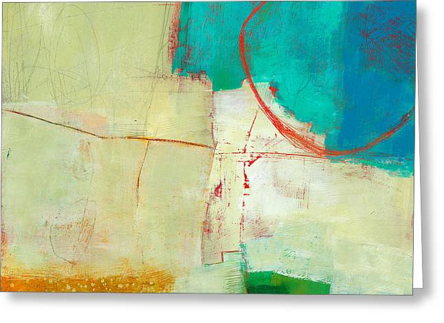 Blue Abstracts Greeting Cards - Green and Red 7 Greeting Card by Jane Davies