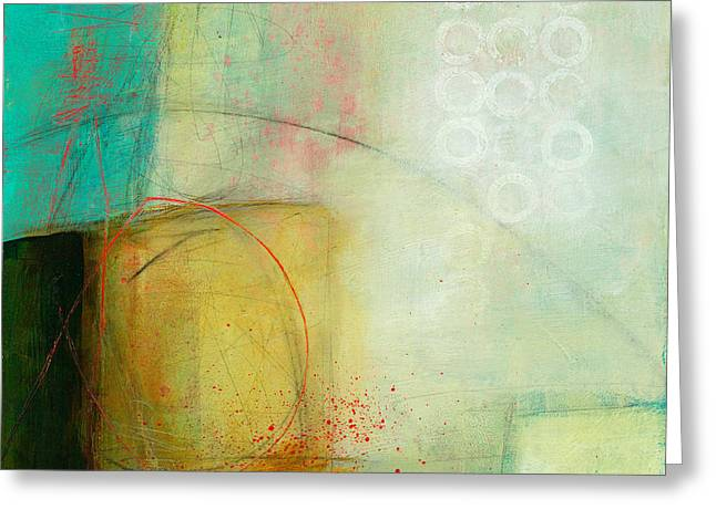 Blue Abstracts Greeting Cards - Green and Red 8 Greeting Card by Jane Davies