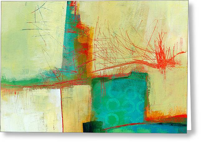 Abstract Collage Greeting Cards - Green and Red 9 Greeting Card by Jane Davies