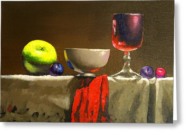 Plum Drawings Greeting Cards - Green and Red Greeting Card by Anatoli Razenberg