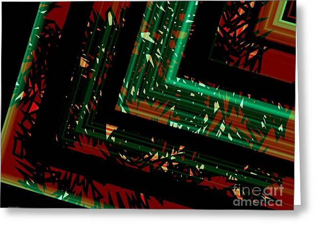 Geometric Art Greeting Cards - Green and Red Geometric Art  Greeting Card by Mario  Perez