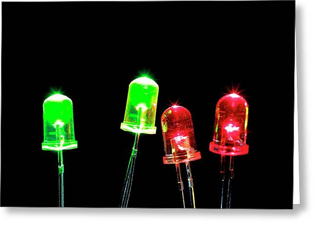 Green And Red Leds Greeting Card by Science Photo Library