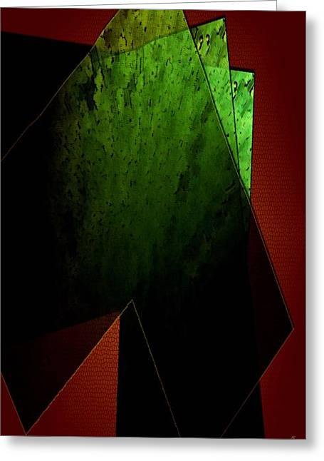 Geometric Art Greeting Cards - Green and Red Greeting Card by Mario  Perez