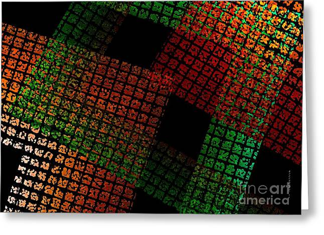 Green And Red Square  Greeting Card by Mario  Perez