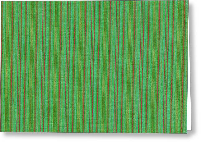 Cloth Greeting Cards - Green And Red Striped Fabric Background Greeting Card by Keith Webber Jr