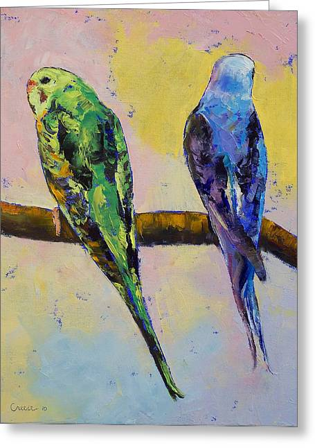Parakeet Paintings Greeting Cards - Green and Violet Budgies Greeting Card by Michael Creese