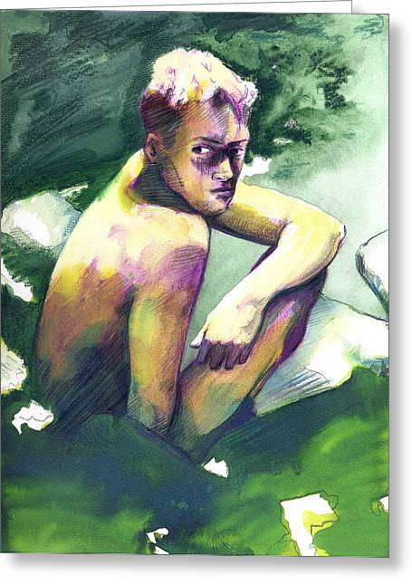 Green And White Light Greeting Card by Rene Capone