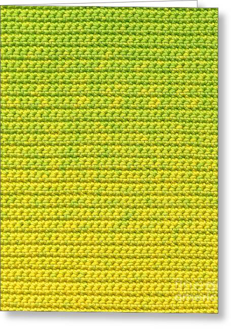 Shade Tapestries - Textiles Greeting Cards - Green and Yellow Crochet Textile Greeting Card by Kerstin Ivarsson