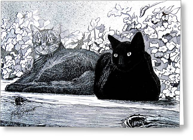 Stipple Paintings Greeting Cards - Green and Yellow Eyes Knuck and Snig Greeting Card by Ruth Bodycott