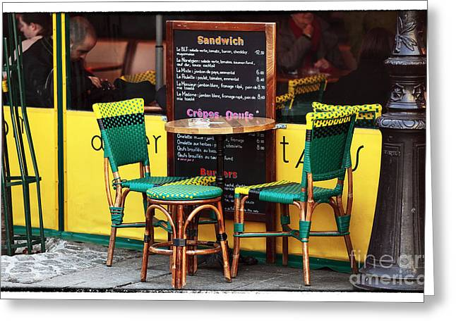Green And Yellow Greeting Cards - Green and Yellow in Paris Greeting Card by John Rizzuto